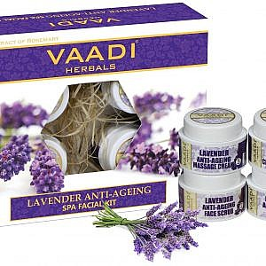 Vaadi Herbals Lavender Anti Ageing Spa Facial Kit with Rosemary Extract – 70gm