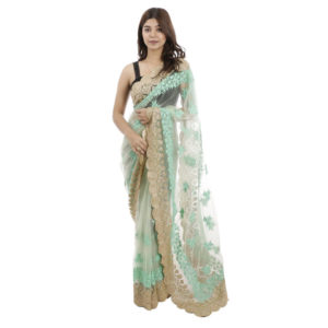 Light Green Colored Embroidered Net Saree With Attached Unstitched Blouse For Women