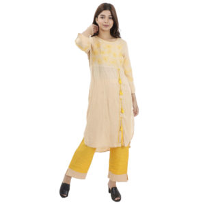 Ultimate Cream Color Tops With Yellow Thread Work And Palazzo Style Kurti For Women