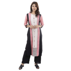 Pink Black With Off White Kurti With Straight Lining Design With Plain Black Palazzo For Women