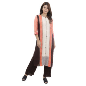 Orange Black With Off White Kurti With Straight Lining Design With Plain Black Palazzo For Women