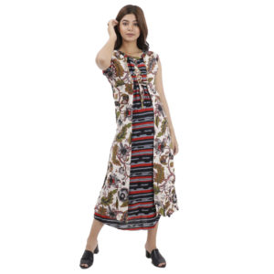 Blue Color Long One Piece Gown With Flower Print For Women