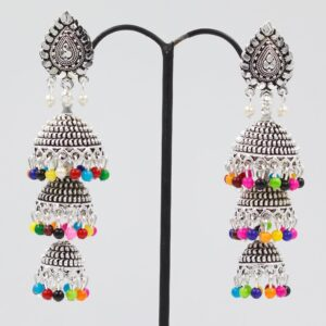 Three Layered Bell Earrings With Colorful Beads