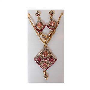 Multi-colored Faux Crystal Embedded  Earrings Attached With A Necklace Set
