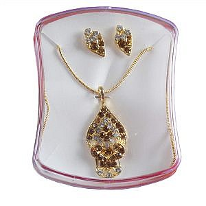 Diamond Shape Golden Pendant With Pair Of Earrings With Faux...