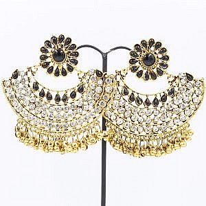 Multi-Colored Padmavati Style Big Earrings With Beads And Faux Crystal Embedded