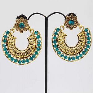 Golden Arc Style Earrings With Faux Blue Crystal Embedded