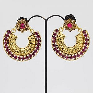 Golden Arc Style Earrings With Faux Pink Crystal Embedded