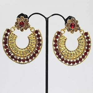 Golden Arc Style Earrings With Faux Brown Crystal Embedded