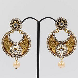 Rounded Golden Drop Earrings With Faux Crystal Embedded