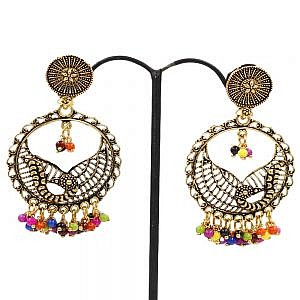 Golden Circle Earrings With Colorful Beads