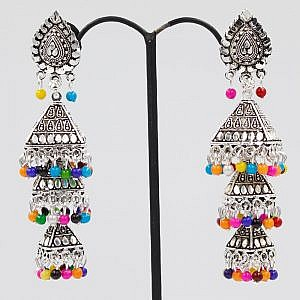 Three Layers Cone Shaped Earrings With Colorful Beads