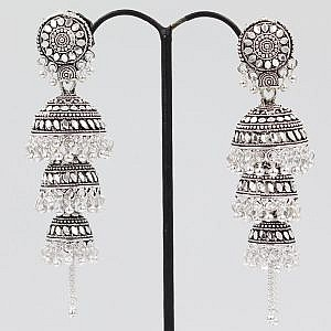 Three Layered Bell Earrings With Silver Beads
