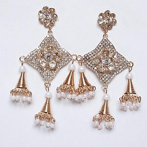 Silver And Golden Colored Big Earrings With Bells And Beads of Star And Flower Shaped