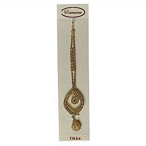 Golden Color Sirbandi With Faux White Crystal For Women