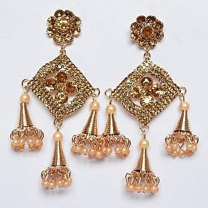 Golden Color Star And Flower Shaped Big Earrings With Bells ...