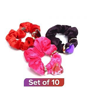 Multicolor Heart Rhinestone Velvet Hairband – Set Of 10