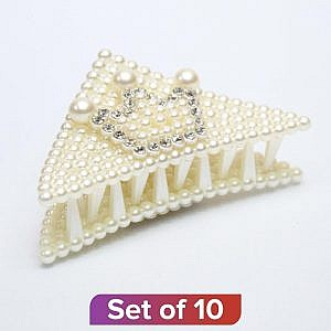 White Crown Design Pearl Clutcher – Set Of 10