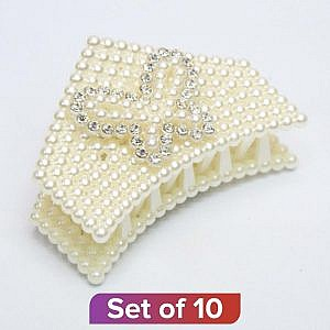 White Triangular Design Pearl Clutcher – Set Of 10