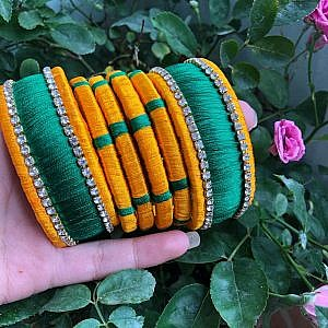 Green and Yellow Bangle Set for Women