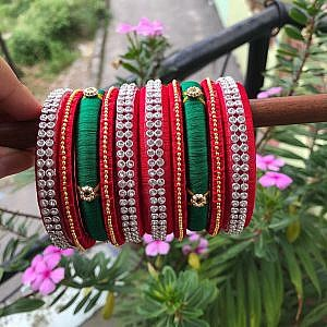 Red and Green Festive Bangle Set for Women
