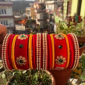 Red and yellow Festive Bangle Set for Women