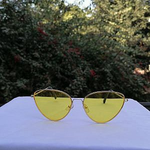 Ladies Metal Sunglass-Cat Shape Yellow