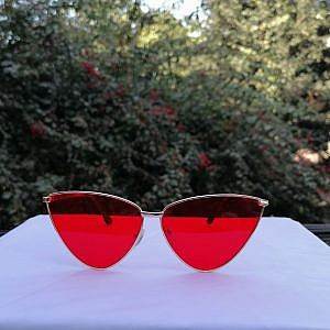 Ladies Metal Sunglass-Cat Shape Red