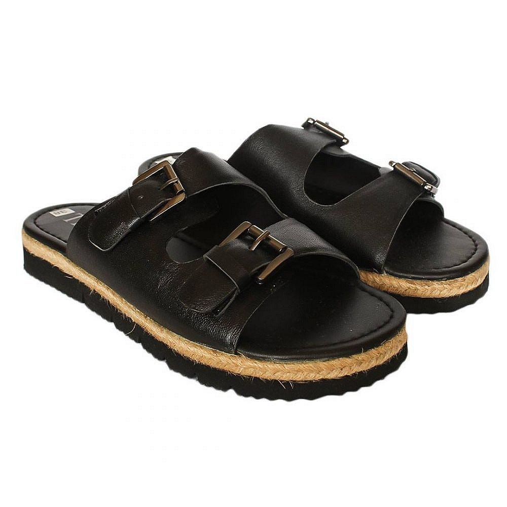 Theea Berlin Double Buckle Black Strap Summer Sandal