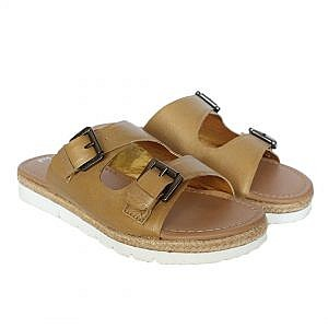 Theea Berlin Double Buckle Golden Strap Summer Sandal