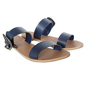 Theea Navy Blue Buckle Strap Flat for Women