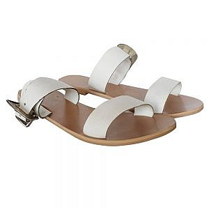 Theea White Buckle Strap Flat for Women
