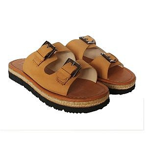 Theea Double Buckle Mustard Yellow Strap Sandal for Women