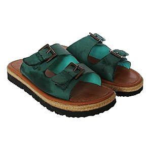 Theea Double Buckle Teal Strap Sandal for Women