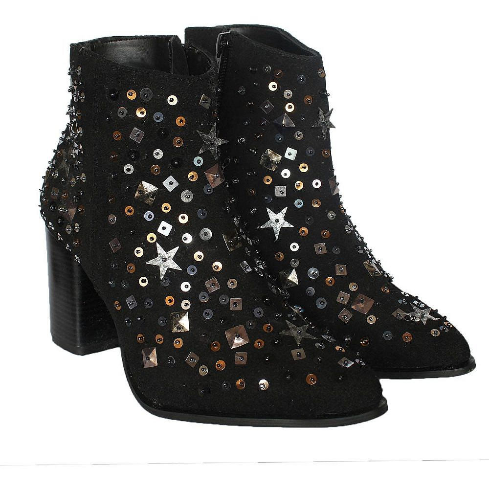 Theea Black Suede Embroidered Boots