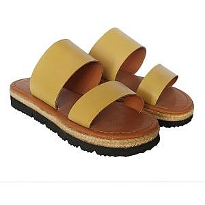 Theea Double Strap Mustard Yellow Sandal for Women