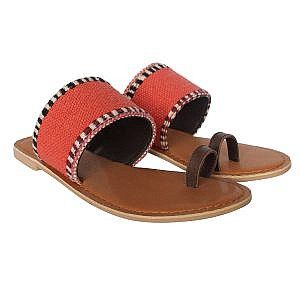 Theea Threadwork Strap One Toe Brown Flat for Women