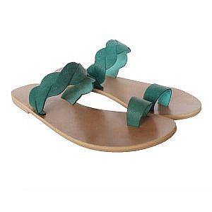 Theea Teal Criss Cross Strap One Toe Flat for Women