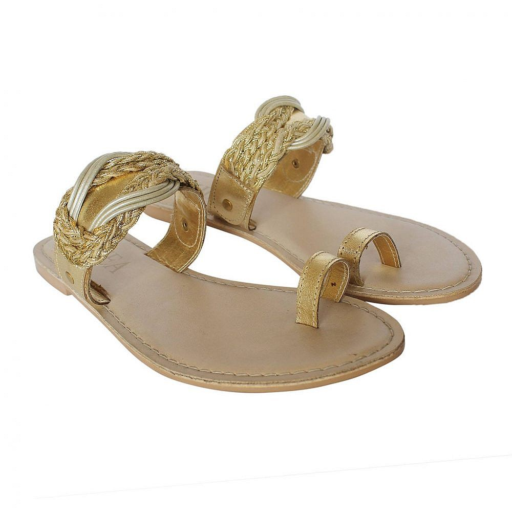 Theea Golden Strap One Toe Flat for Women