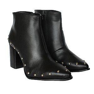 Theea Black Leather Stud Boots