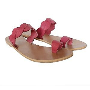 Theea Pink Criss Cross Strap One Toe Flat for Women
