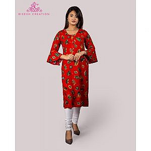 Bisesh Creation Red Foil Printed Flared Sleeves Rayon Kurti