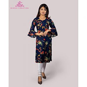 Bisesh Creation Royal Blue Foil Printed Flared Sleeves Rayon Kurti
