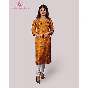Bisesh Creation Yellow Round Neck Foil Printed Rayon Kurti for Women