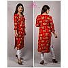 Bisesh Creation Red Round Neck Foil Printed Rayon Kurti for Women