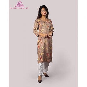 Bisesh Creation Beige Leaf Printed Embroidered Rayon Kurti for Women