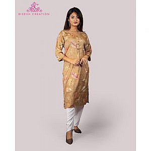 Bisesh Creation Yellow Leaf Printed Embroidered Rayon Kurti for Women