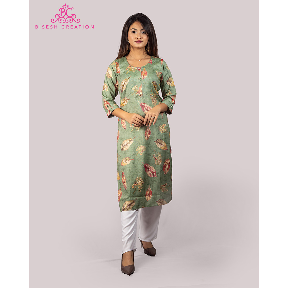 Bisesh Creation Green Leaf Printed Embroidered Rayon Kurti for Women