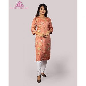 Bisesh Creation Peach Leaf Printed Embroidered Rayon Kurti for Women