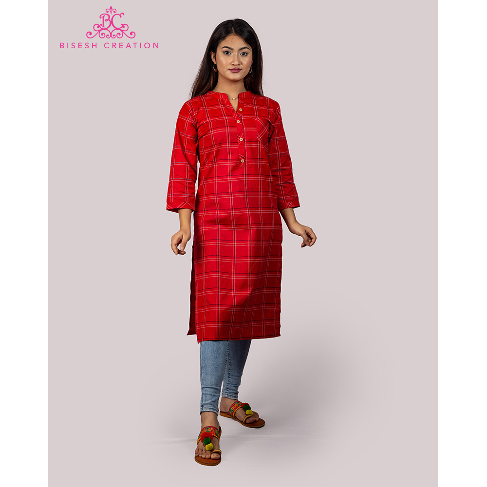 Bisesh Creation Red Checkered Print Cotton Linen Kurti for Women